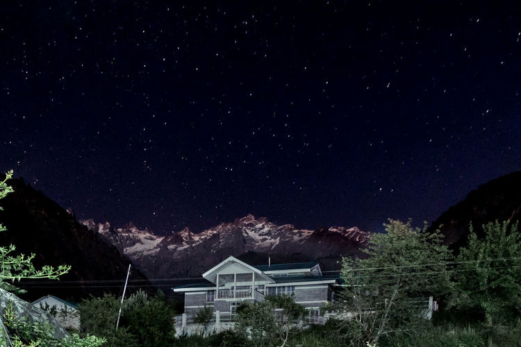 Night sky. Kasol, India. Star - Space Night Astronomy Star Field Constellation Space Galaxy Milky Way No People Tree Beauty In Nature Sky Scenics Outdoors Space Exploration Nature Mountain Star Trail