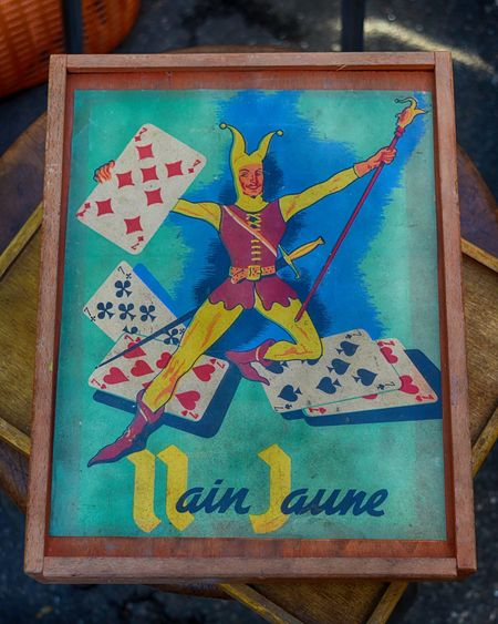 Antique Antiques Antiques Market Card Game Classic Close-up Dijon EyeEmNewHere Flea Market Flea Market Finds French Jaune Joker Nain Nain Jaune No People Retro Vintage Wooden Yellow