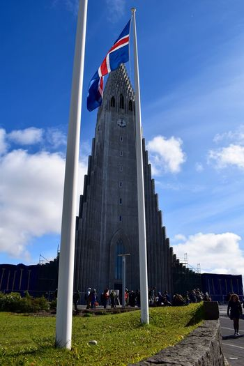 Hallgrìmskirkja Iceland Reykjavik Architecture Building Exterior Built Structure Cloud - Sky Day Flag Grass Large Group Of People Lifestyles Low Angle View Men Nature Outdoors Patriotism People Pride Real People Sky Travel Destinations Women