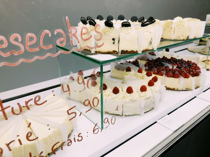 Cake Food Sweet Food Sweet Food And Drink Dessert Baked Freshness Ready-to-eat Still Life Indoors  Western Script Store Light Delicious Yummy Fruit Cheese! Cheesecake Paris France Lifestyles Life White Color Snack