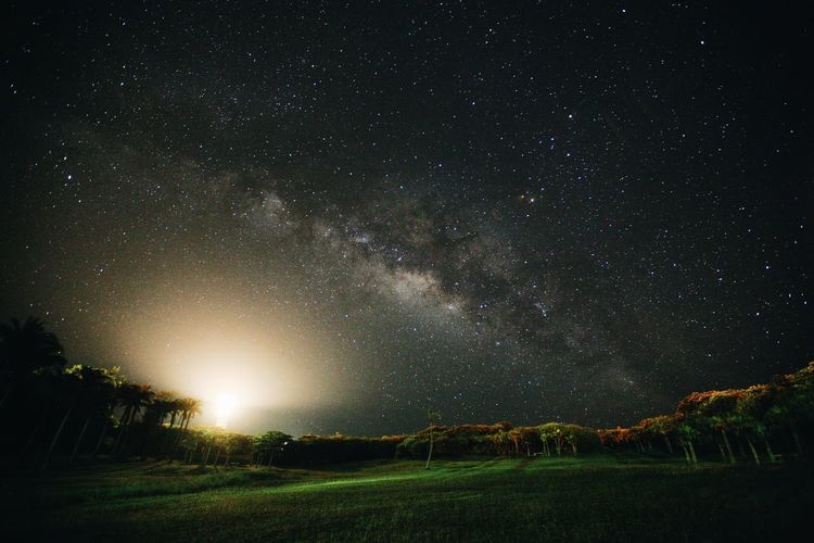 Scenic view of landscape against star field
