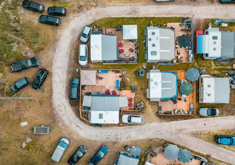 High angle view of trailer park