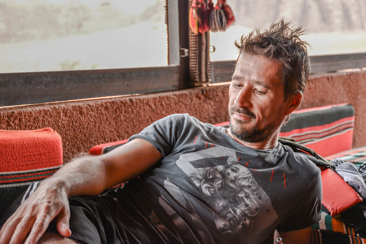 Relaxing in a tent, in wadi rum desert