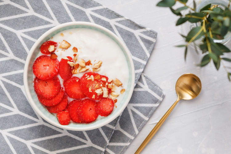 Berry Fruit Bowl Breakfast Close-up Directly Above Eating Utensil Food Food And Drink Freshness Fruit Healthy Eating High Angle View Indoors  Kitchen Utensil No People Ready-to-eat Red Ripe Spoon Strawberry Table Temptation Wellbeing