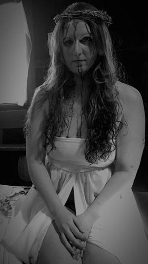 Beautiful young woman wearing mask