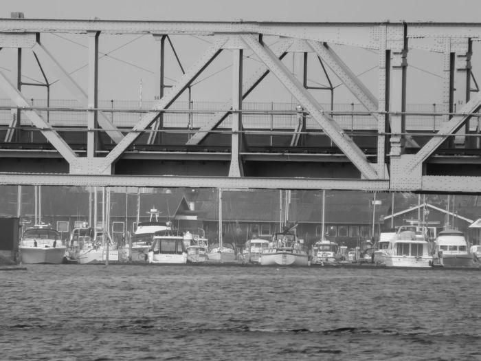 Blackandwhite Water Sea Harbor Bridge - Man Made Structure Sky Architecture Built Structure Railway Bridge