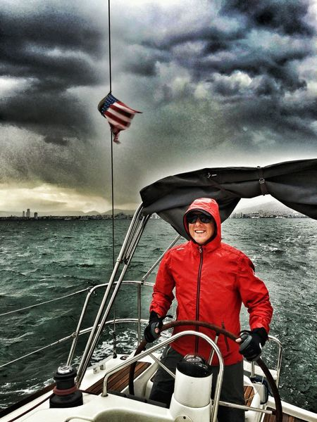 Nautical Vessel Boat Transportation Mode Of Transport Water Red Weather Person Cloud - Sky Portrait Leisure Activity Waist Up Sea Looking At Camera Sky Day Casual Clothing Sailing Ship