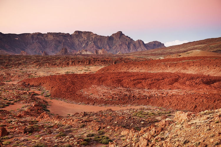 Scenic View Of Landscape At El Teide National Park Against Sky During Sunset