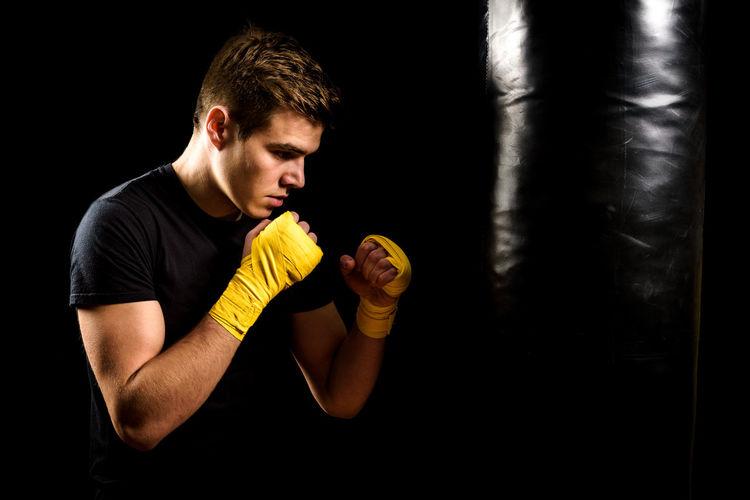 Man training with punching bag