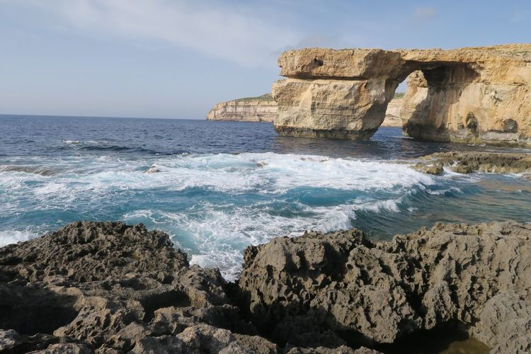 Gozo Malte Azure Window Sea Rock - Object Rock Formation Water Horizon Over Water Nature Beauty In Nature Wave Scenics Cliff