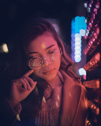 Model: Oleander Omega - Instagram: @oleandrega City Nights Cocktail London Portrait Of A Woman Reflection Beautiful Woman Beauty Close-up Eyeglasses  Happiness Illuminated Indoors  Lifestyles Neon Night Nightlife One Person People Portrait Real People Red Light Smiling Women Young Adult Young Women The Portraitist - 2018 EyeEm Awards