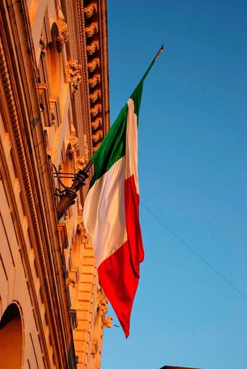 Hanging National Patriotic Patriotism Italian Italy Façade Flag Low Angle View Sky Architecture Nature No People Day Patriotism Building Exterior Building National Icon Outdoors