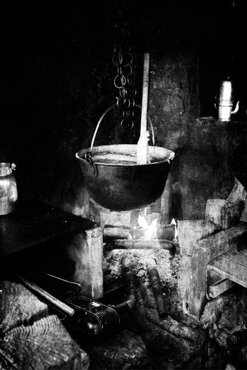 Old Style Food Cooking Vintage Black And White Polenta Malga Mountain Life Fire Cooking On Open Fire Tradisional Food Tradisional Cooking