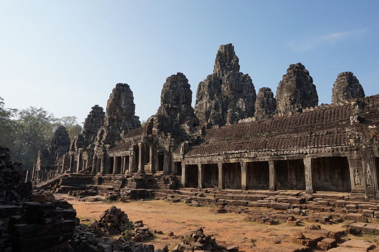 View of Angkor Thom temple in the ancient city ruins of Angkor Wat in Siem Reap, Cambodia Ancient Architecture Angkor Thom Angkor Wat Cambodia Ruins Siem Reap Temple Travel
