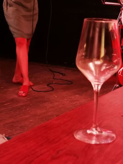 Jazz, ABS Cologne Bands Jazz Combo Live Gig Music Concert Woman Legs Red Nightclub Low Section Close-up
