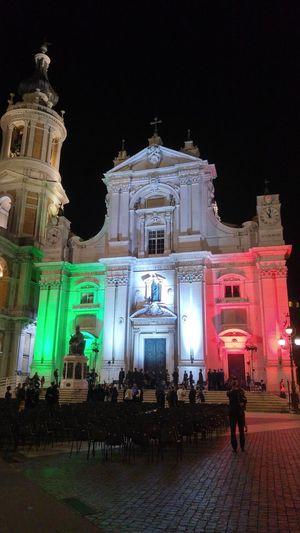 Nofilternoedit Loreto Marche Sanctuary  Illuminated City Architecture Travel Destinations Night People Outdoors Band Italy🇮🇹 Italian Flag Colors Celebration Event