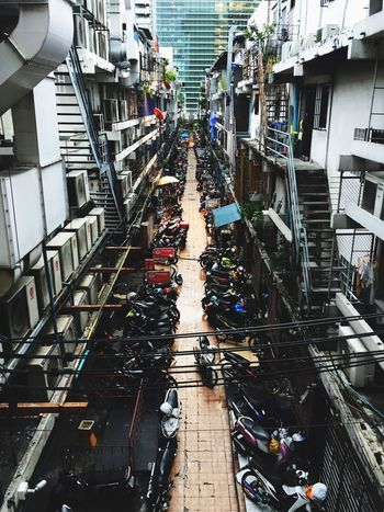 Perspective back street view High Angle View Architecture Built Structure Building Exterior Day Transportation Outdoors City No People Siam Square Bangkok
