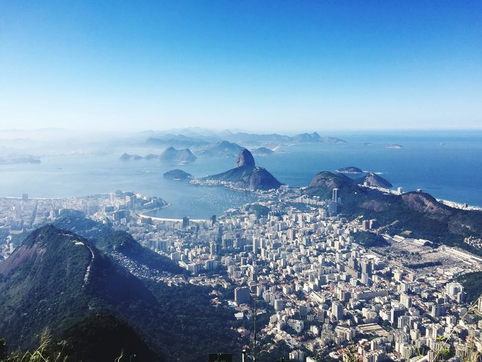 Rio De Janeiro Cityscape Sky Water Scenics - Nature Nature Blue Sea Day Beauty In Nature Aerial View High Angle View Cityscape Architecture Outdoors City Mountain