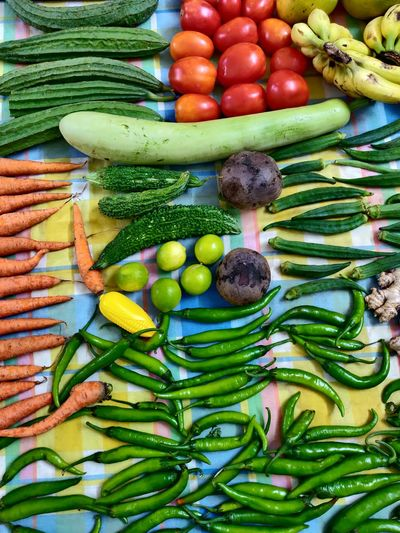 High angle view of fruits and vegetables