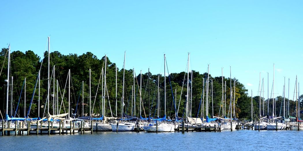 Panoramic view of boats moored against clear blue sky