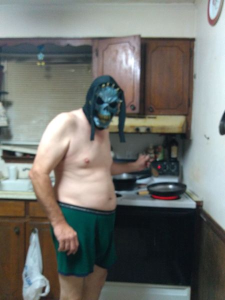 Halloween booger cooking supper Domestic Kitchen One Man Only Only Men Sink Domestic Room Adults Only Indoors  One Person Faucet Standing Adult Domestic Life Kitchen Shirtless People Housework Men Young Adult Bathroom Sink Human Body Part