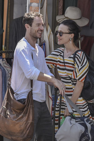 The actress Gabriella Pession and her husband, the actor Richard Flood, in Portofino - Summer 2016 Actor Actress Backgrounds Car Casual Clothing Celebrities Celebrity Celebrity Sighting Couple Gabriella Pession Happiness Italy Kisses Leisure Activity Lifestyles Love Outdoor Photography Person Portofino Richard Flood Sunglasses Togetherness Vip Well-dressed Young Women