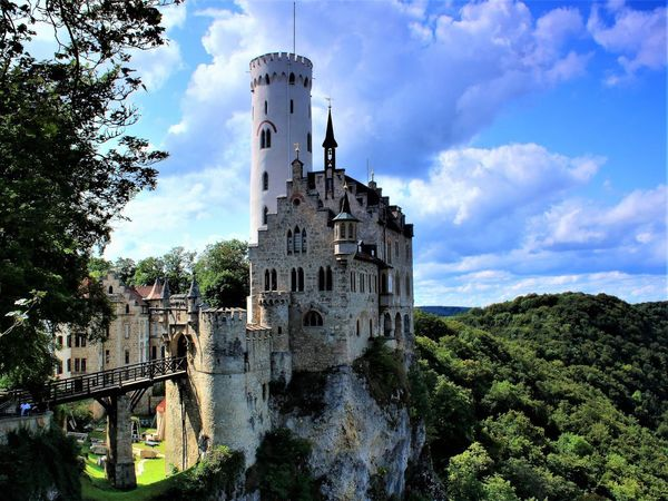 Castle Schloss Lichtenstein Architecture Beauty In Nature Building Exterior Built Structure Cloud - Sky Day Famous Building History Low Angle View Nature No People Outdoors Schwäbische Alb Sky Travel Destinations Tree Water