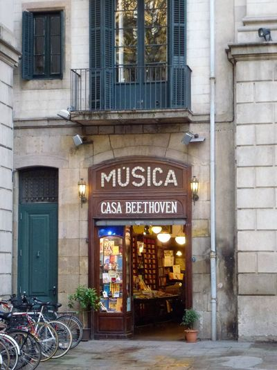 Beethoven Music Shop In Barcelona Architecture Bicycle Building Exterior Built Structure City Day Façade Illuminated Music Shop No People Old Music Shop Outdoors