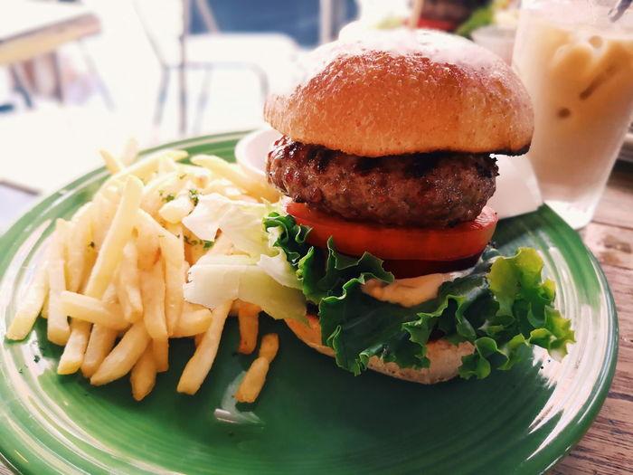 cafe Lunch Food Tokyo,Japan Tokyo Hamburger Fast Food Burger Plate Bun Lettuce Table Close-up Food And Drink