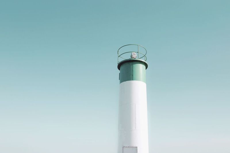Simplicity Still Life Composition Beautiful Day Exterior Minimalism Shapes White Color Watchtower Lookout Tower Lookout Tower Communication Copy Space Built Structure Architecture Clear Sky Building Exterior Low Angle View Industry Sky Nature Environment Technology Environmental Issues Blue Equipment