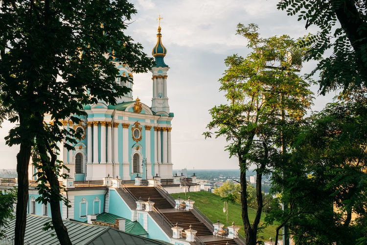 Kiev Kyiv Architecture Built Structure Tree Building Exterior Plant Building Place Of Worship Belief Religion Nature Spirituality Travel Destinations No People Day Sky Tower City Green Color Outdoors Spire  St. Andrew's Church Andryivsky Uzviz Andreevskiy Spusk андреевскийспуск