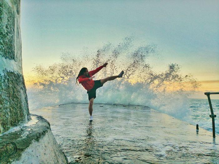 Karate Kick Sea Water
