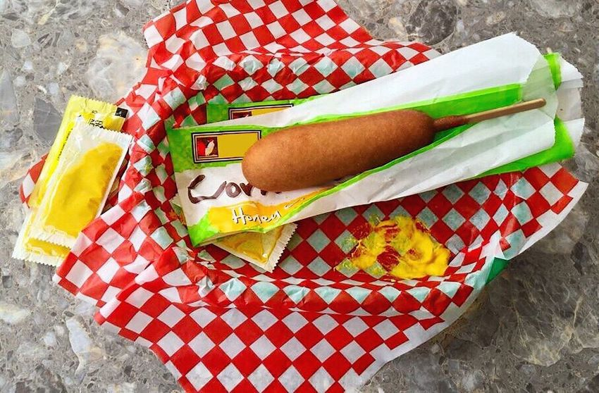 Show Us Your Takeaway! Corndog Takeout Mustard Food Foodie Foodphotography Food Photography Food On The Go Foodlover Drive Through Street Food Worldwide Visual Feast
