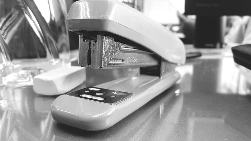 Business Finance And Industry Indoors  Close-up Backgrounds Office Equipment Stationery Black & White Clip Abstract Clipper Stapler Stapling Machine Tone Dark Style Work Job Working Close Up Business Instrument Apparatus Utensil