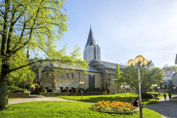 Low angle view of cathedral by trees against sky