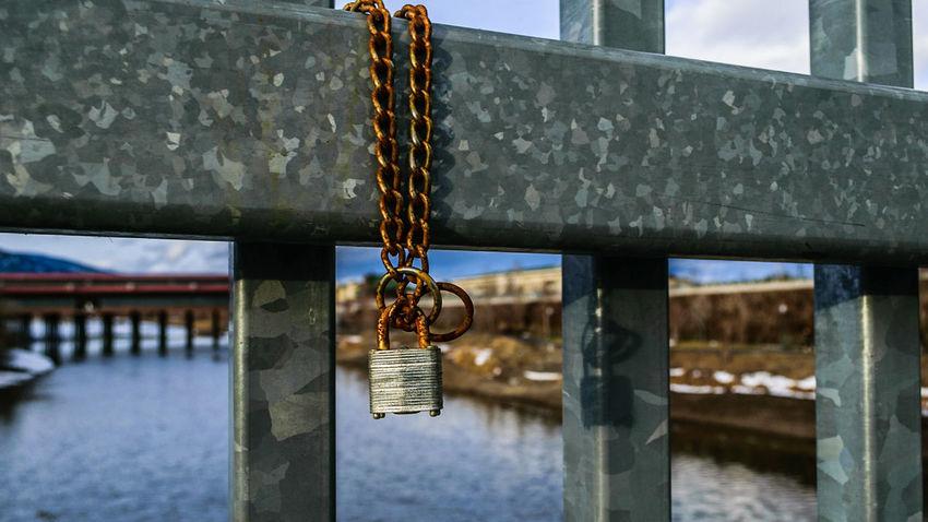 Rusty Lock Sandpoint Rusty Rust Bridge Ponderay Lake NIKON D5300 Chain Metal Metallic Hanging Lock Metal Padlock Chain Day Luck No People Outdoors Water Close-up Sky EyeEmNewHere The Still Life Photographer - 2018 EyeEm Awards