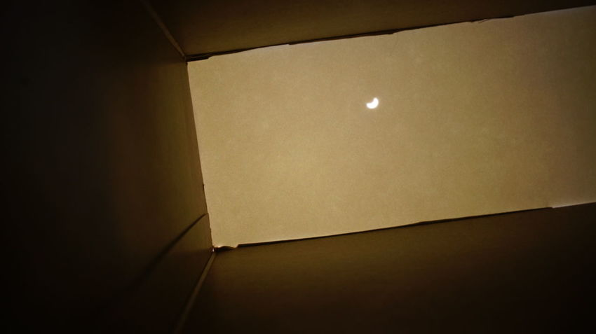 Looking at the solar eclipse from Michigan, 2017, from inside a homemade viewer Cardboard Box Homemade Solar Eclipse 2017 Architecture Cereal Box Close-up Eclipse Eclipse 2017 Illuminated Indoors  Inside Night No People Solar Eclipse