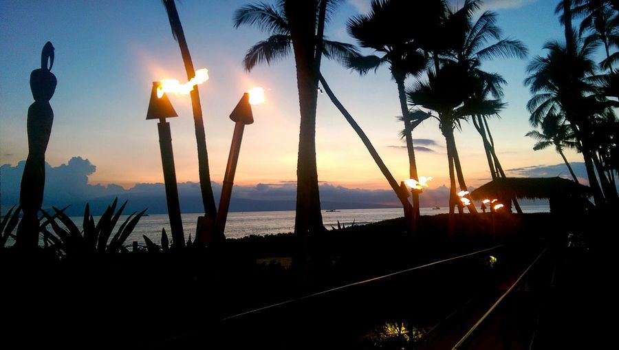 Hawaiian Lights Tiki Torch Palm Trees Sunset And Clouds  Pathway Old Picture Old Pic - New Edit Peaceful Take Me Back Hawaii Sunset Island View  Serenity 2014 Maui