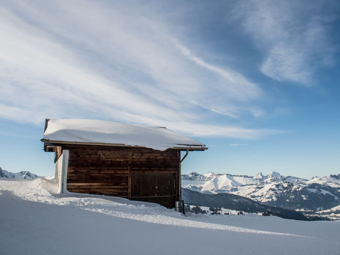 Hut on snow covered landscape