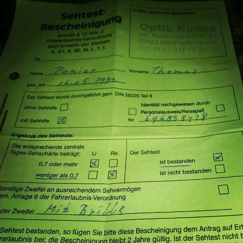 Endlich! #Sehtest #bestanden #Fahrschule #Führerschein Bestanden Führerschein Fahrschule Sehtest