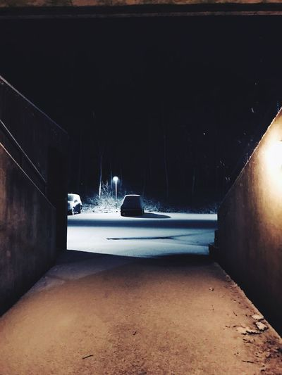 Lampposts Lamppost Old Buildings Old Cars Into Darkness Going Up Colourless Scary Concrete Wall Tree Trees White Shadow Light Forrest Forward Basement Illuminated Night Winter Road No People Built Structure Cold Temperature The Way Forward Snow Architecture Nature