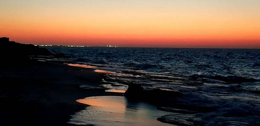 North coast, Alexandria, Egypt Sunset Sea Water Astronomy Sand Dune Wave Sky Landscape Horizon Over Water Space And Astronomy