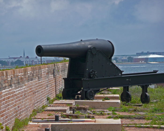 This 8-inch Rodman cannon was recently mounted on the northwest wall at Fort Pickens, where a similar cannon had existed until 1901 Cannon Canon Coin-operated Binoculars Day Florida Fort Fort Pickens History Military No People Outdoors Pensacola Sky Travel Travel Destinations USA Weapon