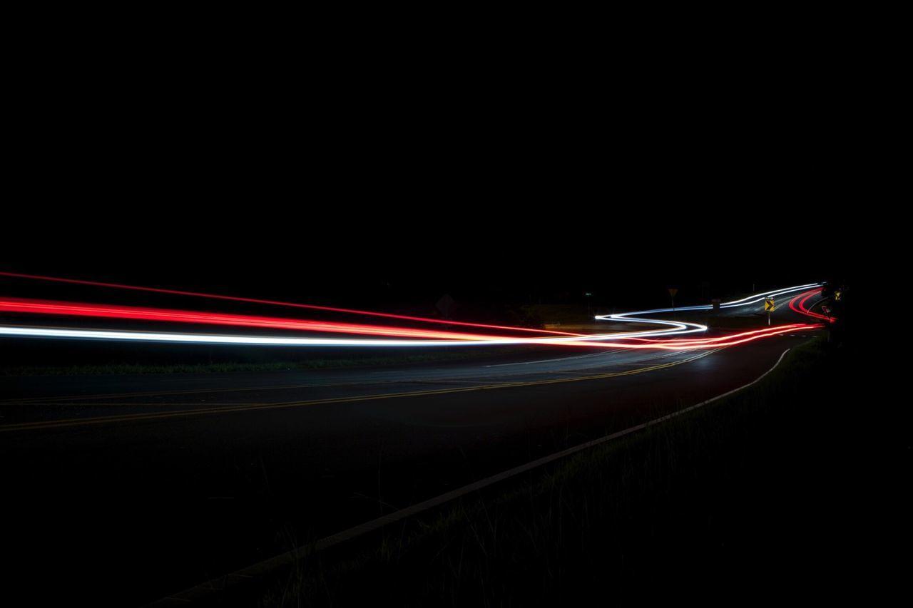 Illuminated Light Trails In Dark