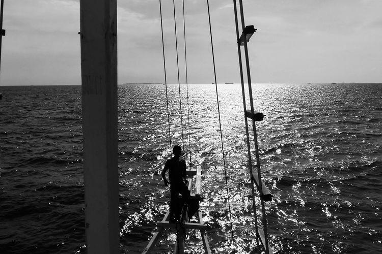 Silhouette fishing rod on sea against sky