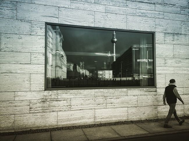 Architecture Building Exterior Built Structure Window Real People Outdoors Walking Day One Person City Streetshot Berliner Ansichten Street Photography Streetphotography Reflection Berlin Cityscape City Life Architecture Window View Windows