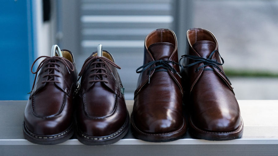Absence Black Color Boot Brown Business Choice Close-up Dress Shoe Flooring Group Of Objects In A Row Indoors  Leather Menswear No People Order Pair Personal Accessory Shoe Side By Side Still Life Table Variation