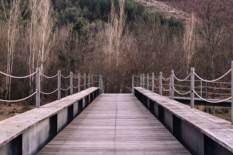 Footbridge over footpath