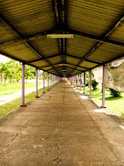 Interior of empty colonnade
