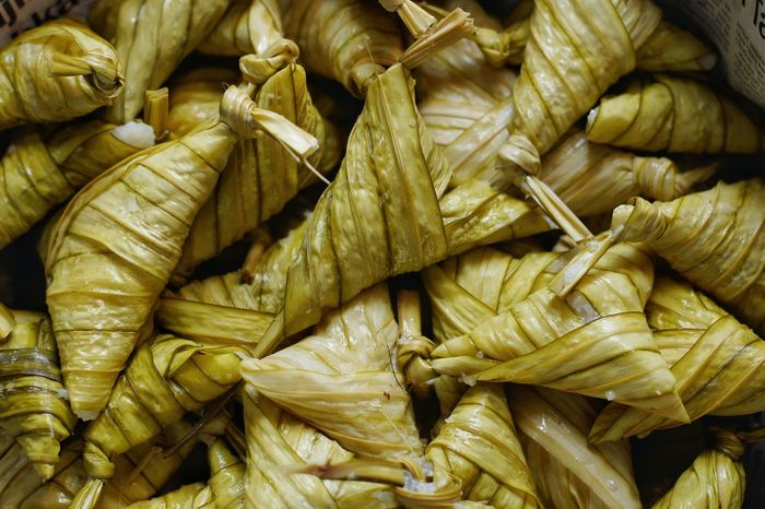 Malaysian traditional food 'Ketupat palas', it is sticky rice wrapped with palas leaf Backgrounds Food No People Food And Drink High Angle View Healthy Eating Delicious Celebration Traditional Food Festival Foods Eid Mubarak Hari Raya
